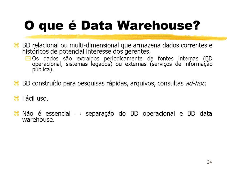 24 O que é Data Warehouse? zBD relacional ou multi-dimensional que armazena dados correntes e históricos de potencial interesse dos gerentes. yOs dado