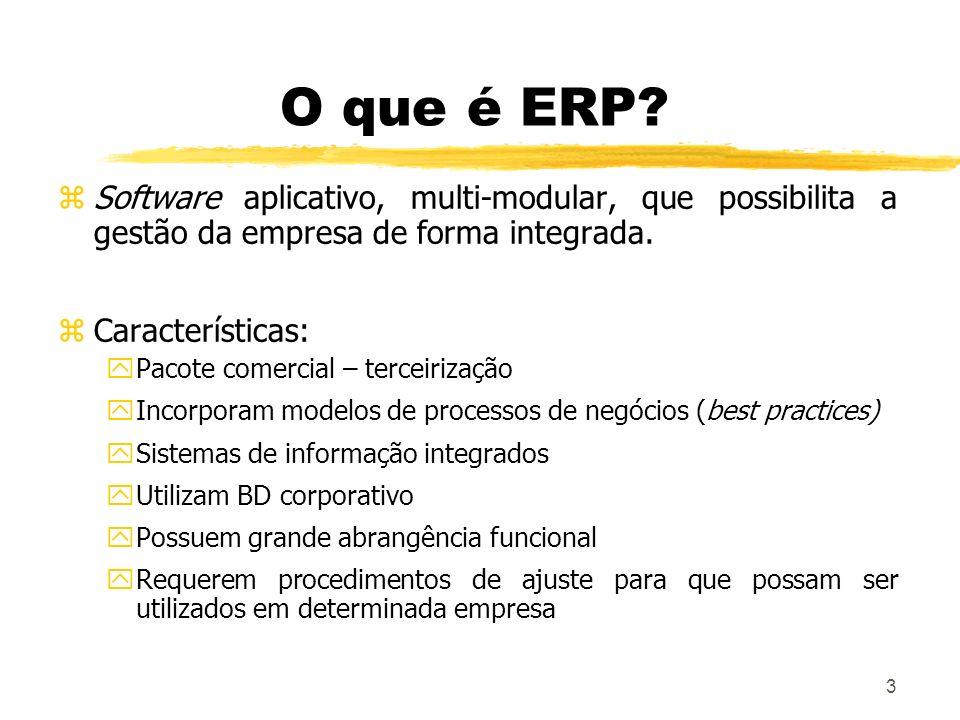 3 O que é ERP? zSoftware aplicativo, multi-modular, que possibilita a gestão da empresa de forma integrada. zCaracterísticas: yPacote comercial – terc