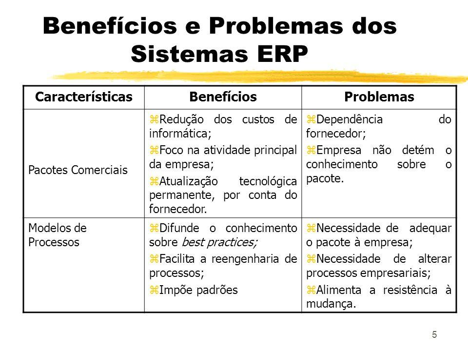 5 Benefícios e Problemas dos Sistemas ERP CaracterísticasBenefíciosProblemas Pacotes Comerciais zRedução dos custos de informática; zFoco na atividade