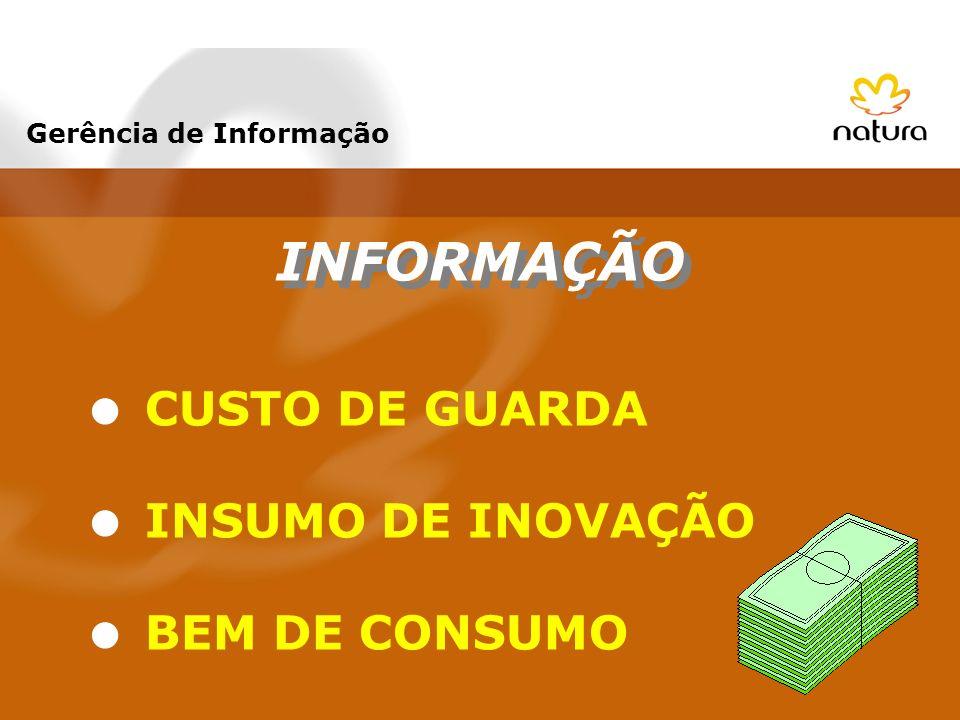 INFORMAÇÃO CUSTO DE GUARDA INSUMO DE INOVAÇÃO BEM DE CONSUMO Gerência de Informação