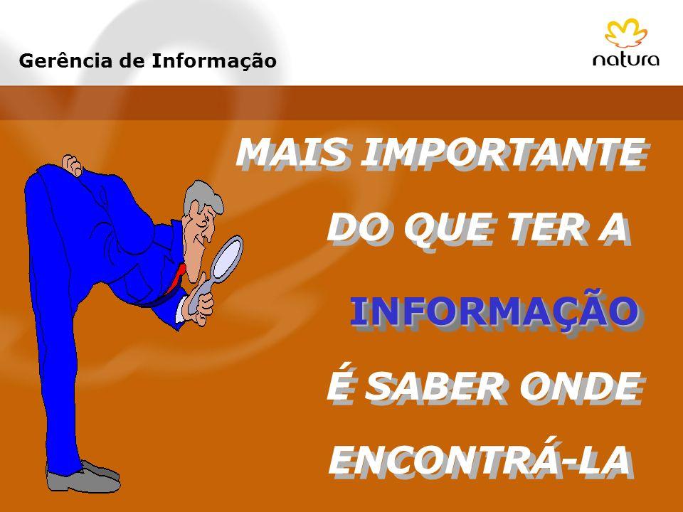 MAIS IMPORTANTE DO QUE TER A INFORMAÇÃOINFORMAÇÃO É SABER ONDE ENCONTRÁ-LA Gerência de Informação
