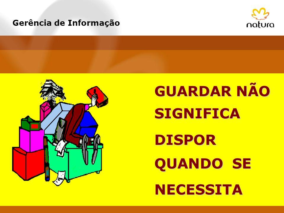 GUARDAR NÃO DISPOR SIGNIFICA QUANDO SE NECESSITA Gerência de Informação