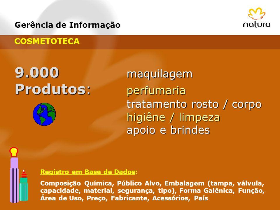 Gerência de Informação 9.000 maquilagem Produtos: perfumaria tratamento rosto / corpo tratamento rosto / corpo higiêne / limpeza higiêne / limpeza apo