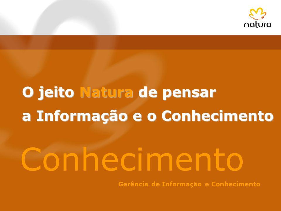 O jeito Natura de pensar a Informação e o Conhecimento a Informação e o Conhecimento Conhecimento Gerência de Informação e Conhecimento
