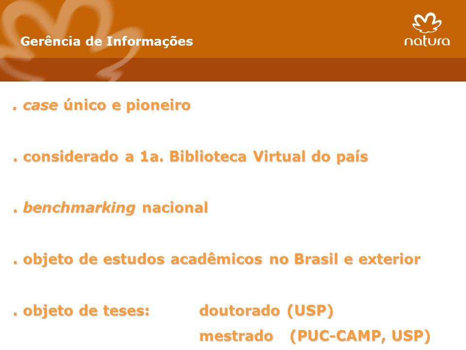 Gerência de Informações. case único e pioneiro. considerado a 1a. Biblioteca Virtual do país. benchmarking nacional. objeto de estudos acadêmicos no B