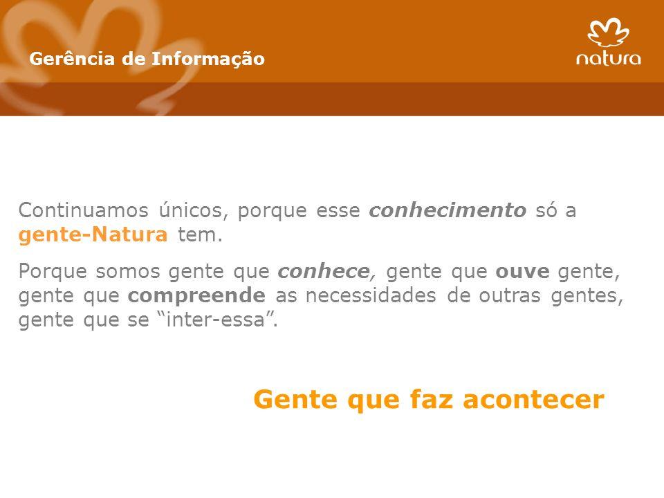 Gerência de Informação Continuamos únicos, porque esse conhecimento só a gente-Natura tem. Porque somos gente que conhece, gente que ouve gente, gente