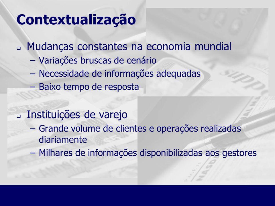 Contextualização Mudanças constantes na economia mundial –Variações bruscas de cenário –Necessidade de informações adequadas –Baixo tempo de resposta
