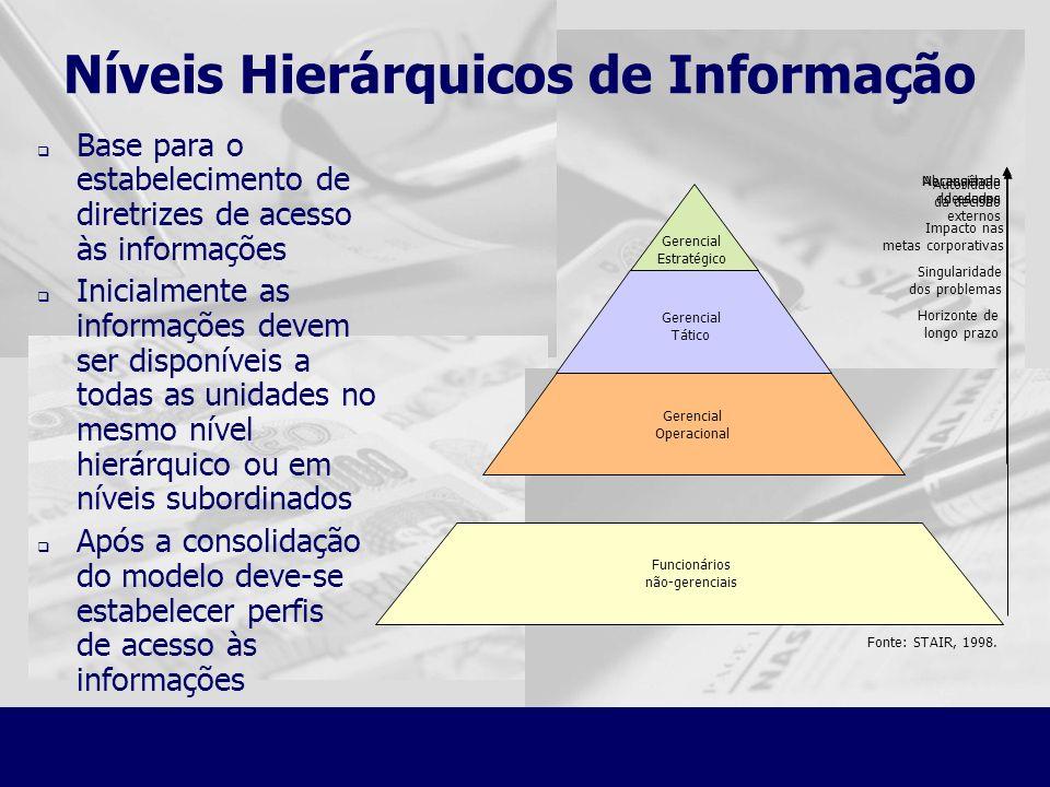 Níveis Hierárquicos de Informação Base para o estabelecimento de diretrizes de acesso às informações Inicialmente as informações devem ser disponíveis