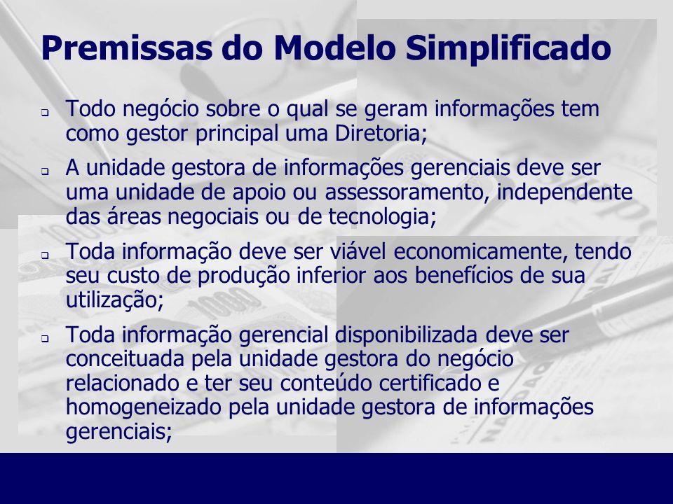 Premissas do Modelo Simplificado Todo negócio sobre o qual se geram informações tem como gestor principal uma Diretoria; A unidade gestora de informaç