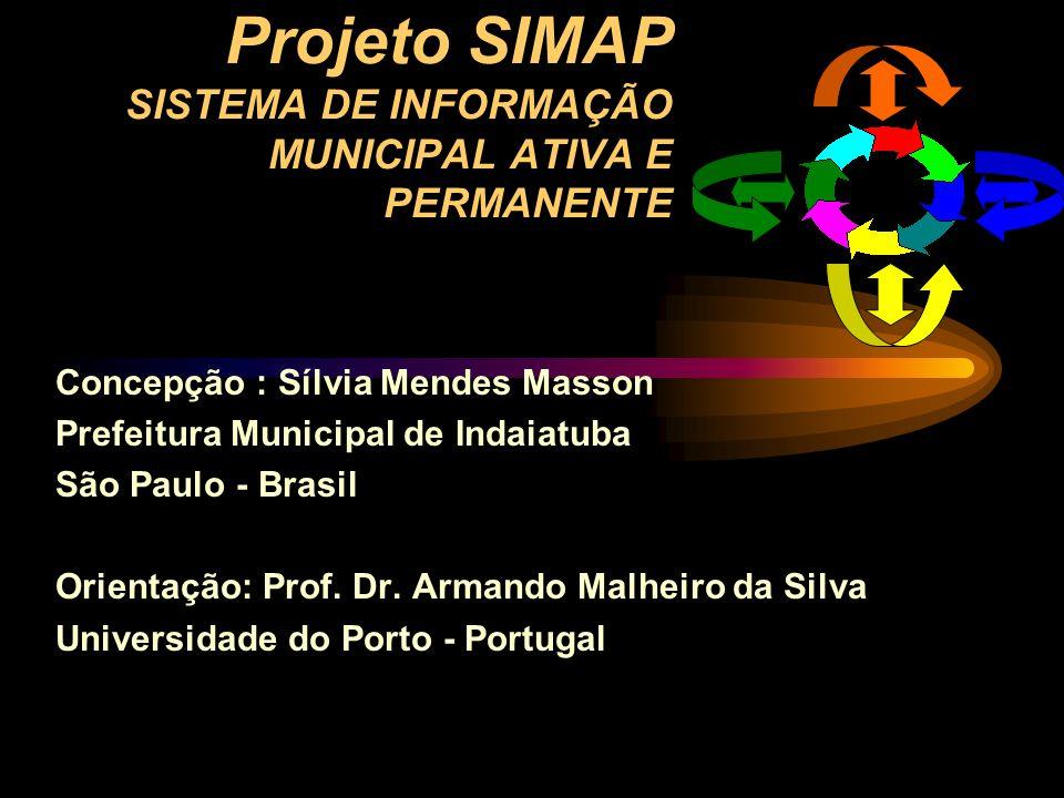 Projeto SIMAP SISTEMA DE INFORMAÇÃO MUNICIPAL ATIVA E PERMANENTE Concepção : Sílvia Mendes Masson Prefeitura Municipal de Indaiatuba São Paulo - Brasi