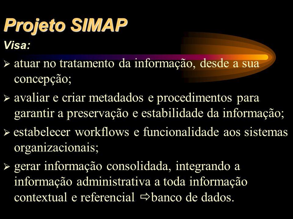 Projeto SIMAP Visa: atuar no tratamento da informação, desde a sua concepção; avaliar e criar metadados e procedimentos para garantir a preservação e