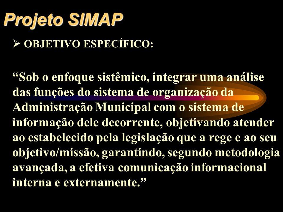 Projeto SIMAP OBJETIVO ESPECÍFICO: Sob o enfoque sistêmico, integrar uma análise das funções do sistema de organização da Administração Municipal com