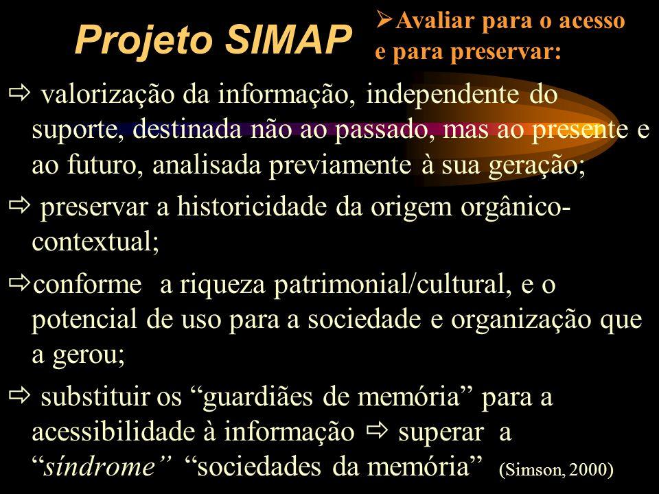 Projeto SIMAP valorização da informação, independente do suporte, destinada não ao passado, mas ao presente e ao futuro, analisada previamente à sua g