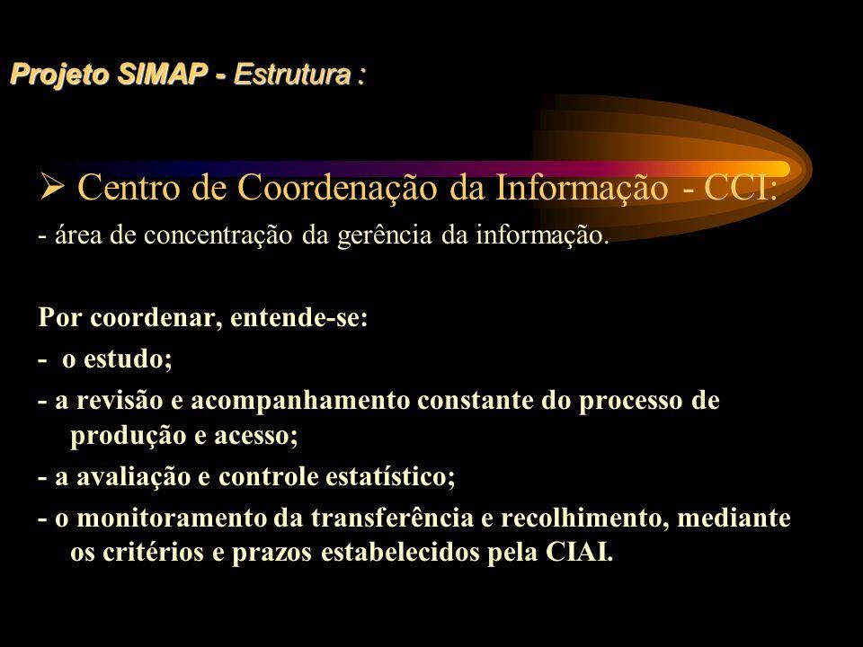 Projeto SIMAP - Estrutura : Centro de Coordenação da Informação - CCI: - área de concentração da gerência da informação. Por coordenar, entende-se: -