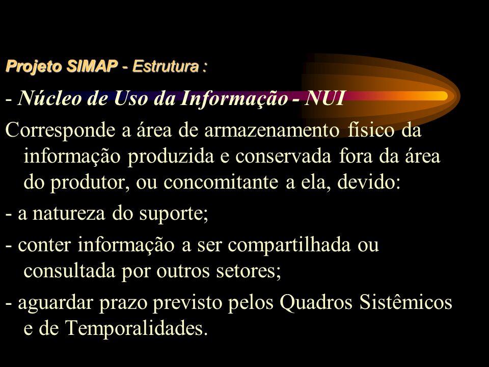 Projeto SIMAP - Estrutura : - Núcleo de Uso da Informação - NUI Corresponde a área de armazenamento físico da informação produzida e conservada fora d