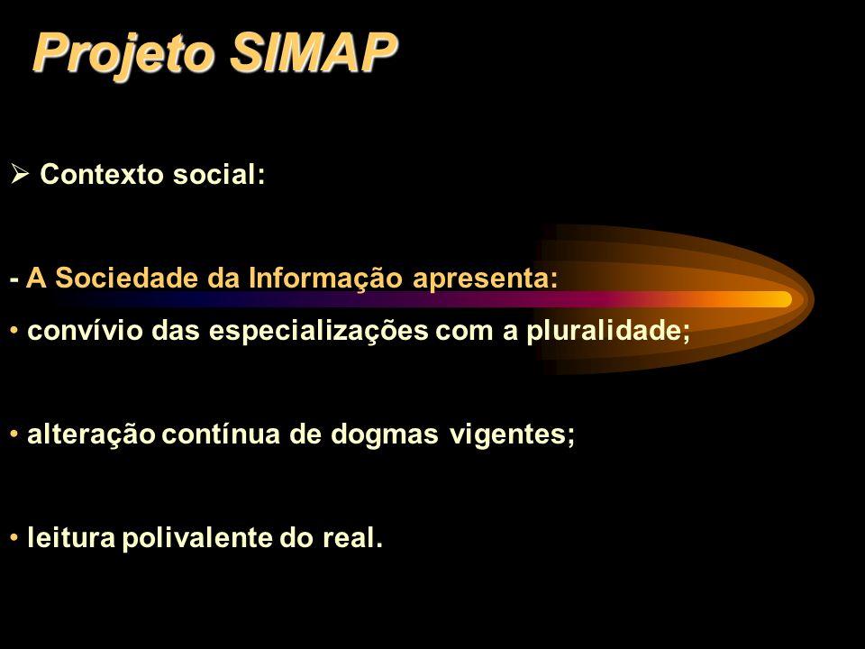 Projeto SIMAP Contexto social: - A Sociedade da Informação apresenta: convívio das especializações com a pluralidade; alteração contínua de dogmas vig