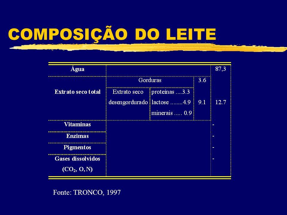 COMPOSIÇÃO DO LEITE Fonte: TRONCO, 1997