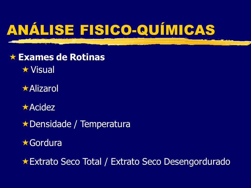ANÁLISE FISICO-QUÍMICAS «Exames de Rotinas «Visual «Alizarol «Acidez «Densidade / Temperatura «Gordura «Extrato Seco Total / Extrato Seco Desengordurado
