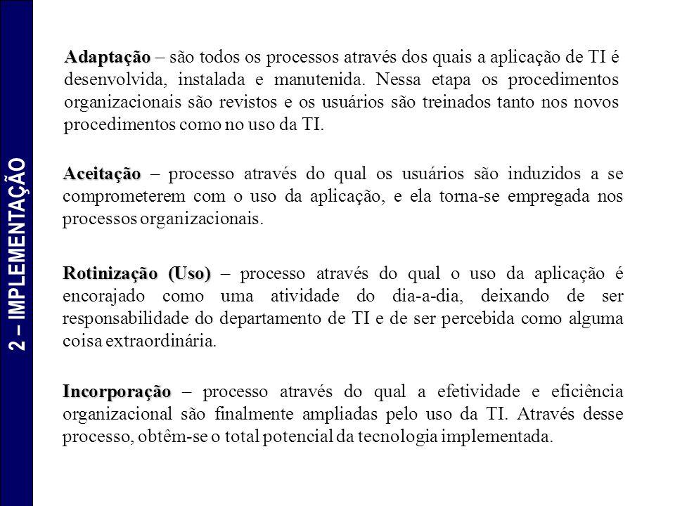 Adaptação Adaptação – são todos os processos através dos quais a aplicação de TI é desenvolvida, instalada e manutenida. Nessa etapa os procedimentos