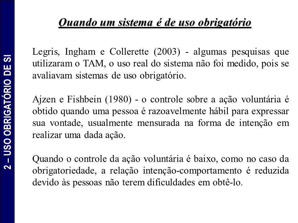 Legris, Ingham e Collerette (2003) - algumas pesquisas que utilizaram o TAM, o uso real do sistema não foi medido, pois se avaliavam sistemas de uso o