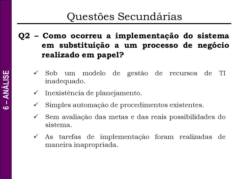 6 – ANÁLISE Questões Secundárias Q2 – Como ocorreu a implementação do sistema em substituição a um processo de negócio realizado em papel? Sob um mode