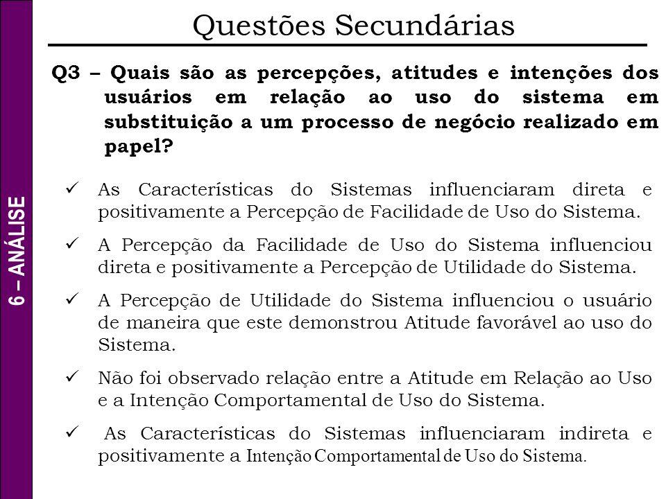 6 – ANÁLISE Questões Secundárias Q3 – Quais são as percepções, atitudes e intenções dos usuários em relação ao uso do sistema em substituição a um pro