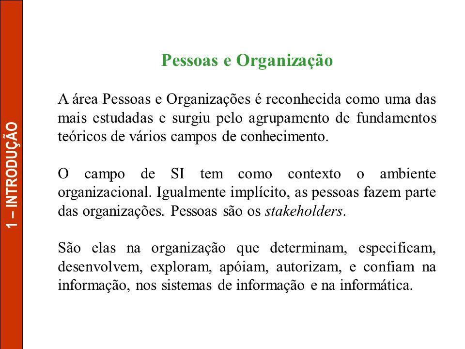 Pessoas e Organização A área Pessoas e Organizações é reconhecida como uma das mais estudadas e surgiu pelo agrupamento de fundamentos teóricos de vár