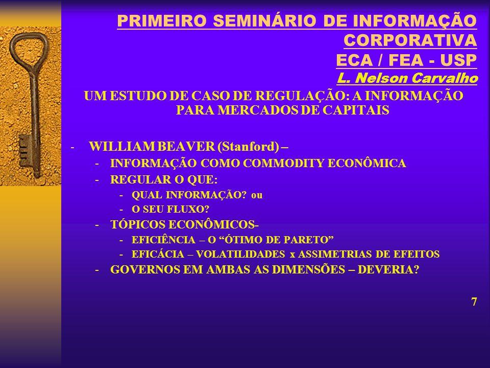 PRIMEIRO SEMINÁRIO DE INFORMAÇÃO CORPORATIVA ECA / FEA - USP L.