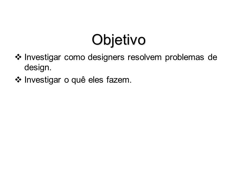 Objetivo Investigar como designers resolvem problemas de design. Investigar o quê eles fazem.