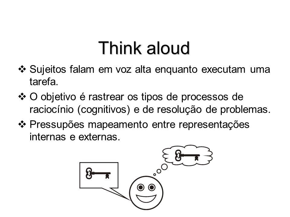 Think aloud Sujeitos falam em voz alta enquanto executam uma tarefa. O objetivo é rastrear os tipos de processos de raciocínio (cognitivos) e de resol