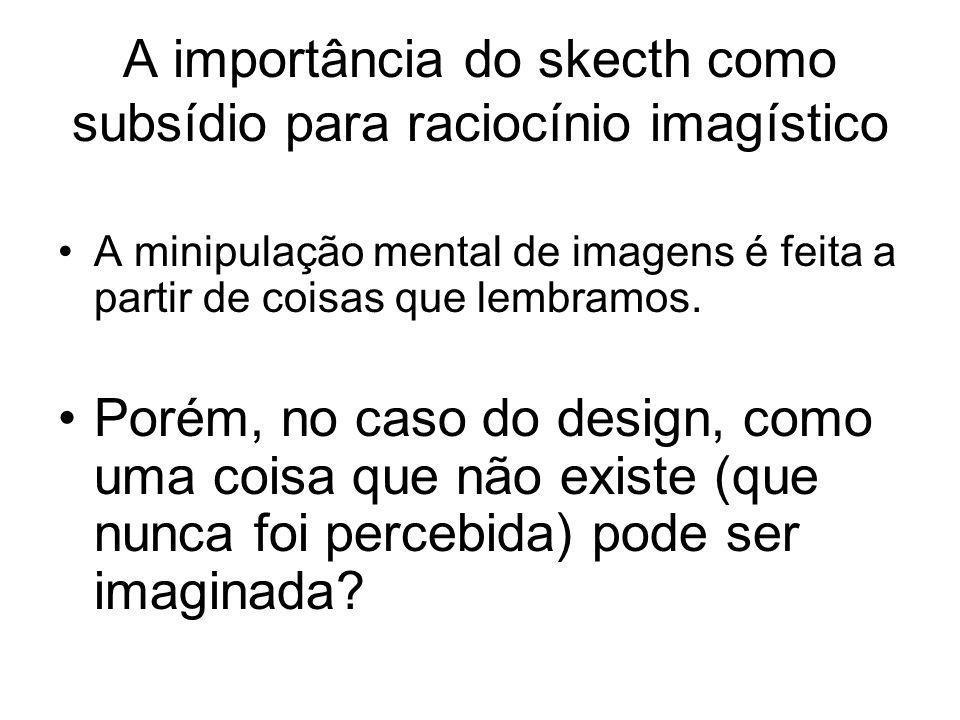 A importância do skecth como subsídio para raciocínio imagístico A minipulação mental de imagens é feita a partir de coisas que lembramos. Porém, no c