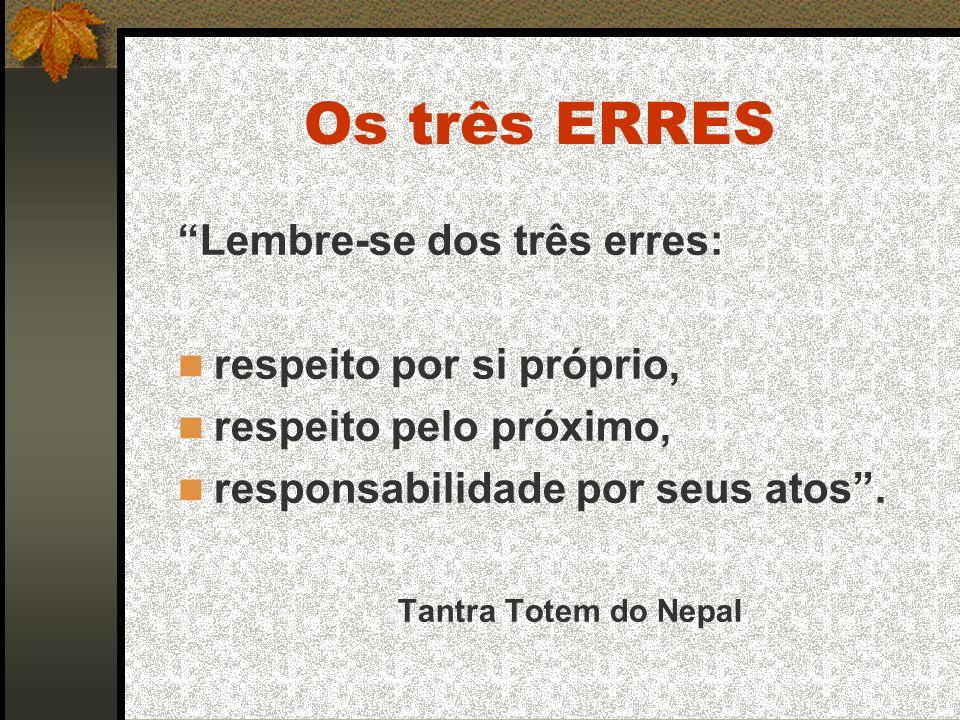 Os três ERRES Lembre-se dos três erres: respeito por si próprio, respeito pelo próximo, responsabilidade por seus atos.