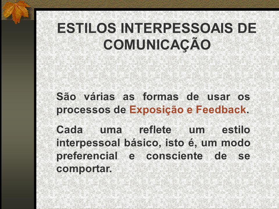 ESTILOS INTERPESSOAIS DE COMUNICAÇÃO São várias as formas de usar os processos de Exposição e Feedback.