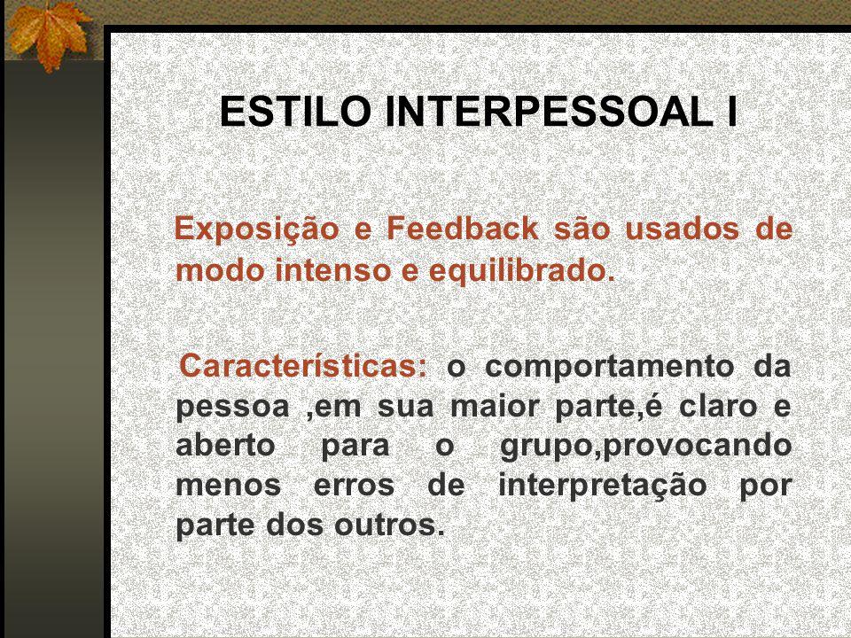 ESTILO INTERPESSOAL I Exposição e Feedback são usados de modo intenso e equilibrado.