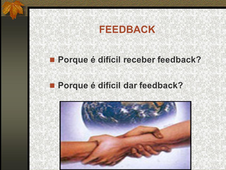 FEEDBACK Porque é difícil receber feedback? Porque é difícil dar feedback?