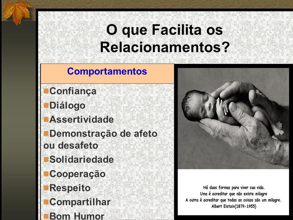 O que Facilita os Relacionamentos? Confiança Diálogo Assertividade Demonstração de afeto ou desafeto Solidariedade Cooperação Respeito Compartilhar Bo