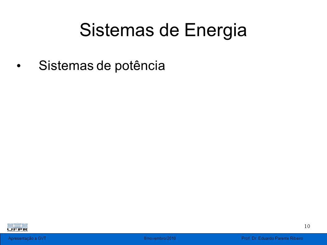 Apresentação a GVT 8/novembro/2010 Prof. Dr. Eduardo Parente Ribeiro 10 Sistemas de Energia Sistemas de potência