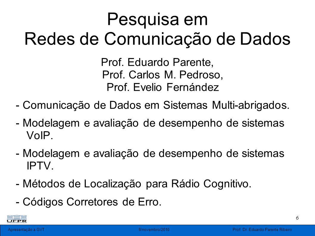 Apresentação a GVT 8/novembro/2010 Prof. Dr. Eduardo Parente Ribeiro 6 Pesquisa em Redes de Comunicação de Dados Prof. Eduardo Parente, Prof. Carlos M