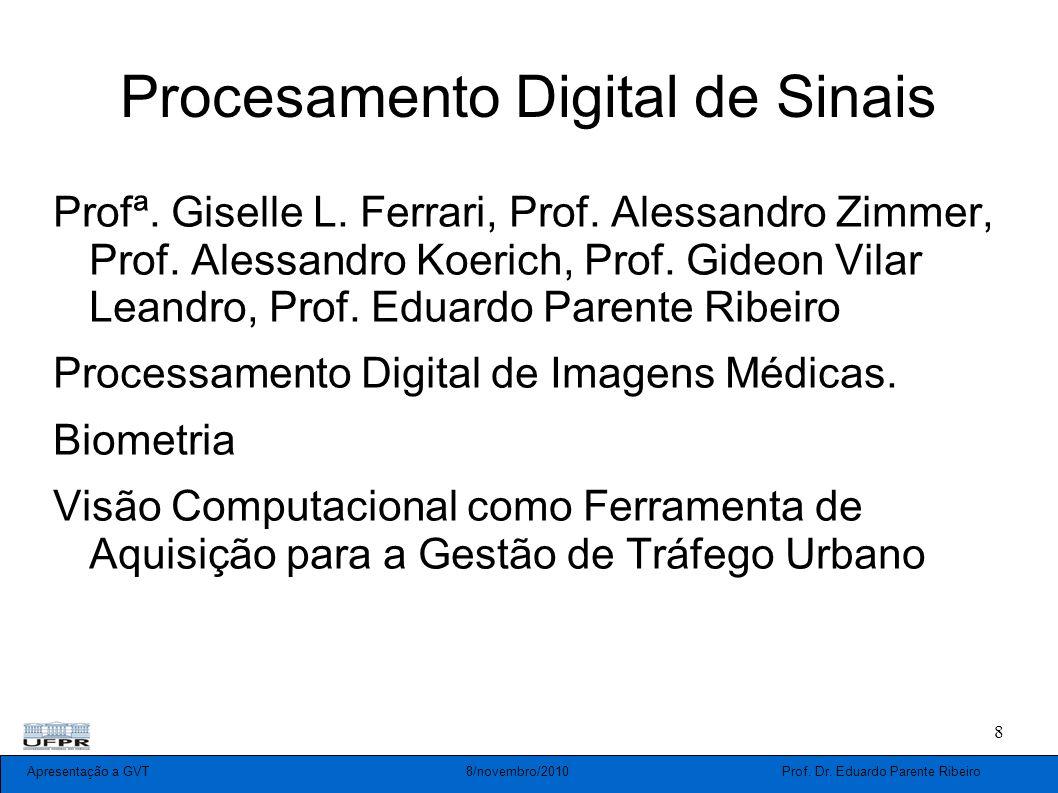 Apresentação a GVT 8/novembro/2010 Prof. Dr. Eduardo Parente Ribeiro 8 Procesamento Digital de Sinais Profª. Giselle L. Ferrari, Prof. Alessandro Zimm
