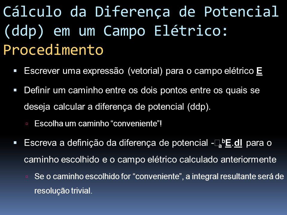 Cálculo da Diferença de Potencial (ddp) em um Campo Elétrico: Procedimento Escrever uma expressão (vetorial) para o campo elétrico E Definir um caminh