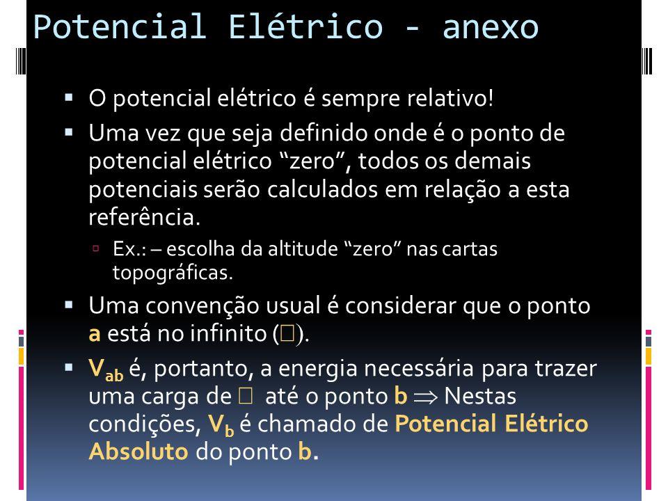 Potencial Elétrico - anexo O potencial elétrico é sempre relativo! Uma vez que seja definido onde é o ponto de potencial elétrico zero, todos os demai