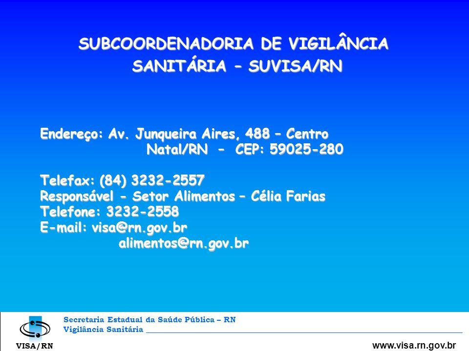 Secretaria Estadual da Saúde Pública – RN Vigilância Sanitária _________________________________________________________________________________ www.v