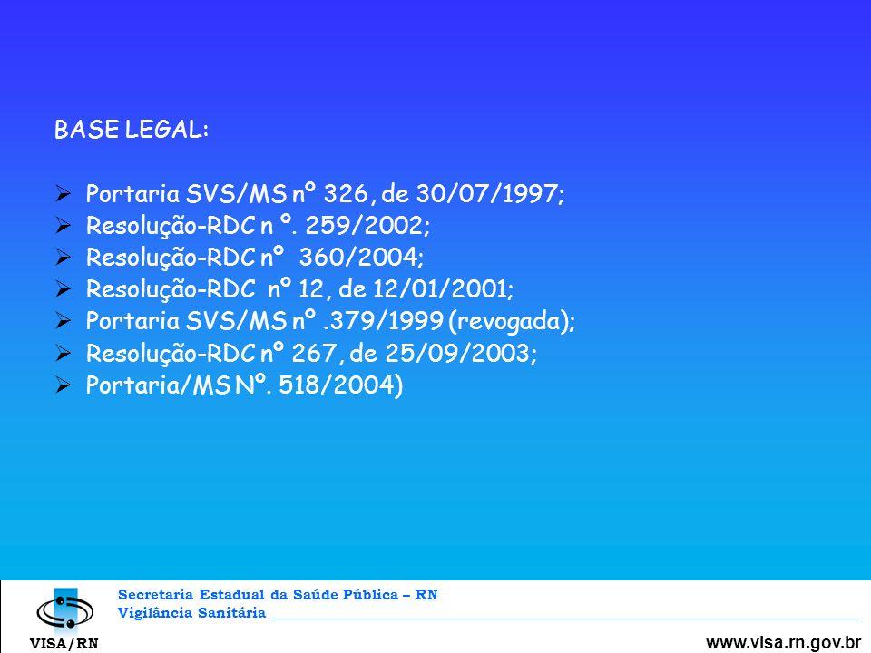 Secretaria Estadual da Saúde Pública – RN Vigilância Sanitária _________________________________________________________________________________ www.visa.rn.gov.br VISA/RN Medidas Adotadas Notificação fiscal às empresas com laudos insatisfatórios ; Empresas com direito à contraprova; Autuação quando a empresa não solicita contraprova e o laudo se torna definitivo; Envio às VISAs Grande Natal e URSAPS, para interdição cautelar, enquanto se realiza a perícia de contraprova; Apreensão do produto e retirada do mesmo da prateleira quando o laudo da contraprova confirma o resultado insatisfatório.