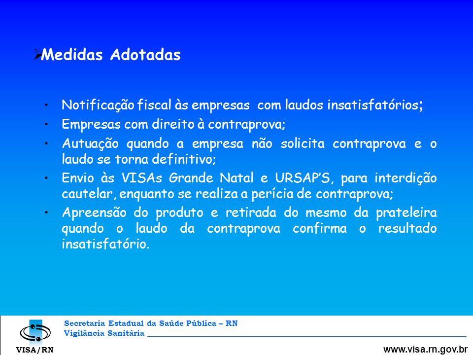 Secretaria Estadual da Saúde Pública – RN Vigilância Sanitária _________________________________________________________________________________ www.visa.rn.gov.br VISA/RN CONSIDERAÇÕES FINAIS Seleção de matéria – prima e ingredientes; Melhorar Qualidade Sanitária do produto; Implantar Boas Práticas de Fabricação; Realizar controle de qualidade durante o processo produtivo; Controlar tempo / temperatura do processo; Correção / adequação da rotulagem à legislação sanitária em vigor; Organização do segmento.