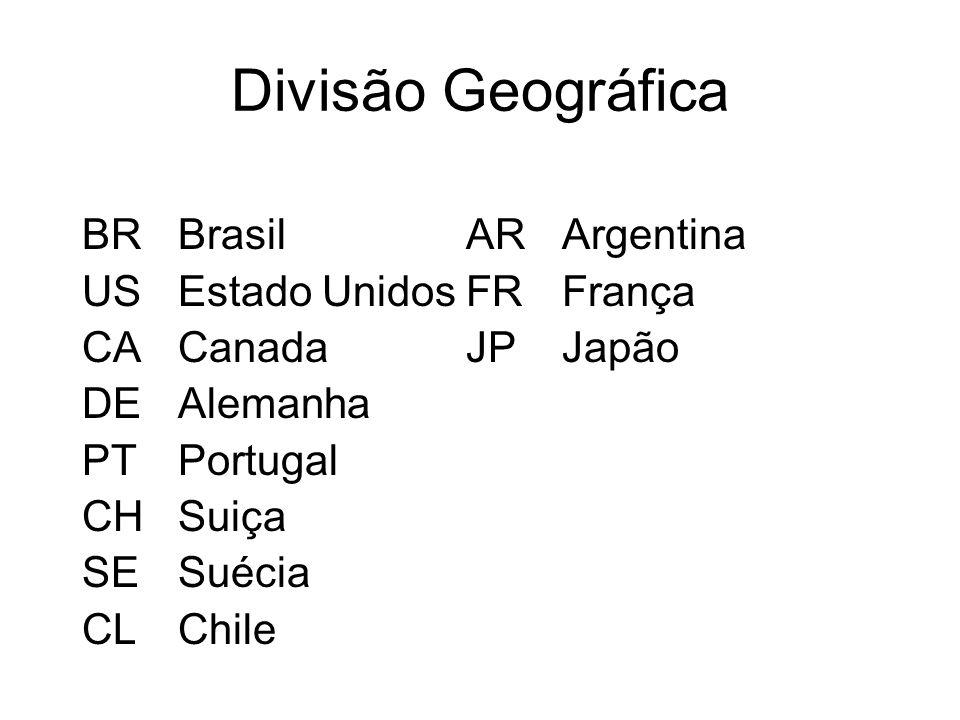 Divisão Geográfica BRBrasilARArgentina USEstado UnidosFRFrança CACanadaJPJapão DEAlemanha PTPortugal CHSuiça SESuécia CLChile