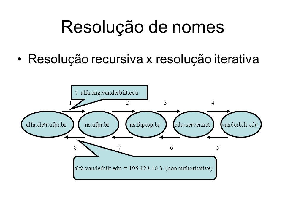 Resolução de nomes alfa.eletr.ufpr.bredu-server.netns.ufpr.brns.fapesp.br Resolução recursiva x resolução iterativa vanderbilt.edu 12 34 8 7 65 .