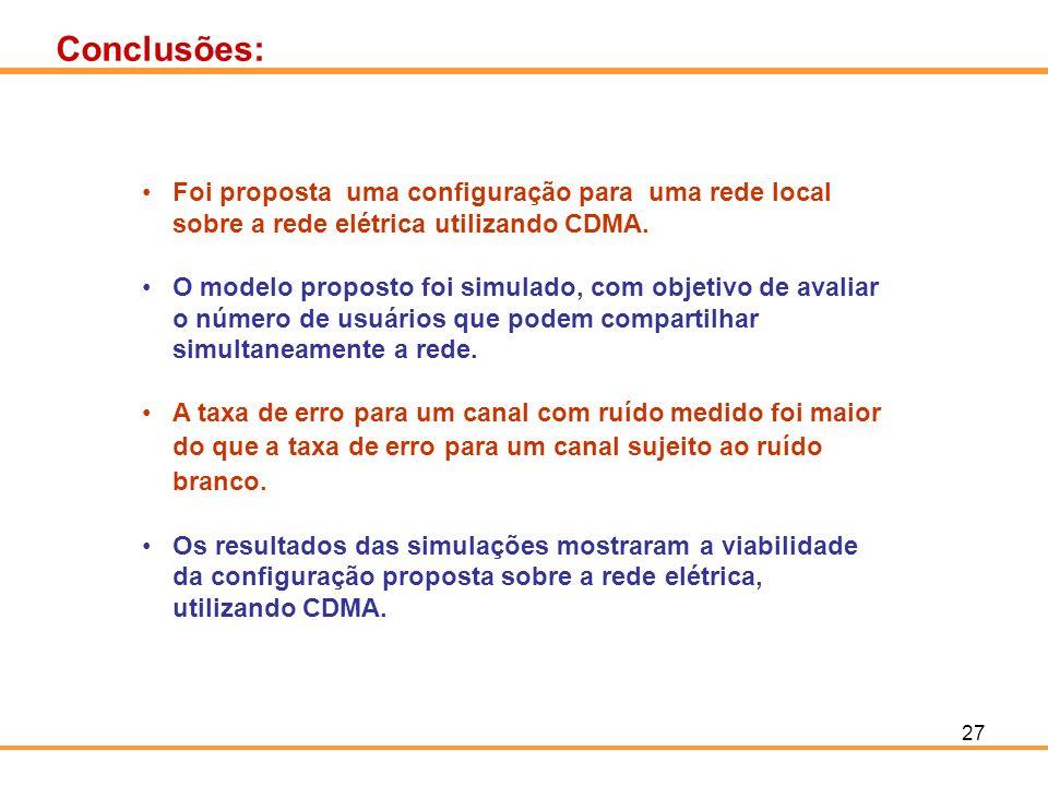 27 Conclusões: Foi proposta uma configuração para uma rede local sobre a rede elétrica utilizando CDMA. O modelo proposto foi simulado, com objetivo d
