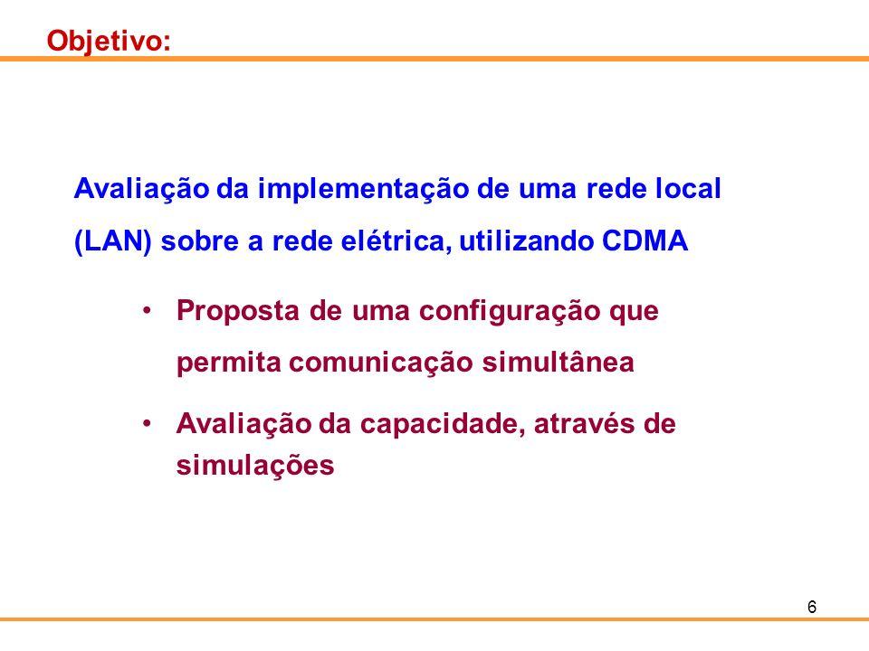 6 Objetivo: Avaliação da implementação de uma rede local (LAN) sobre a rede elétrica, utilizando CDMA Proposta de uma configuração que permita comunic