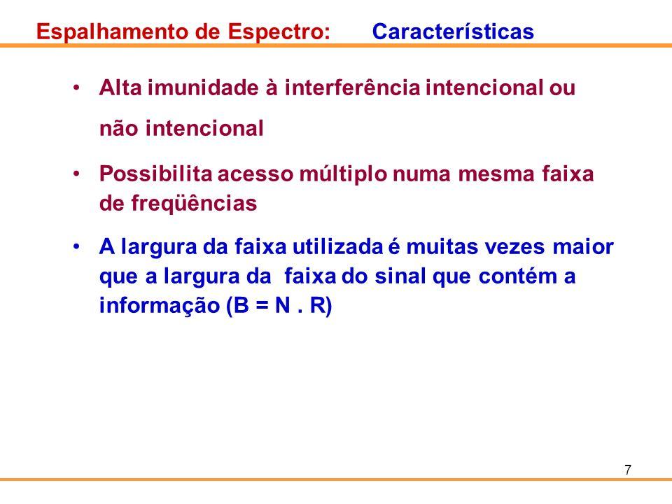 7 Espalhamento de Espectro:Características Alta imunidade à interferência intencional ou não intencional Possibilita acesso múltiplo numa mesma faixa