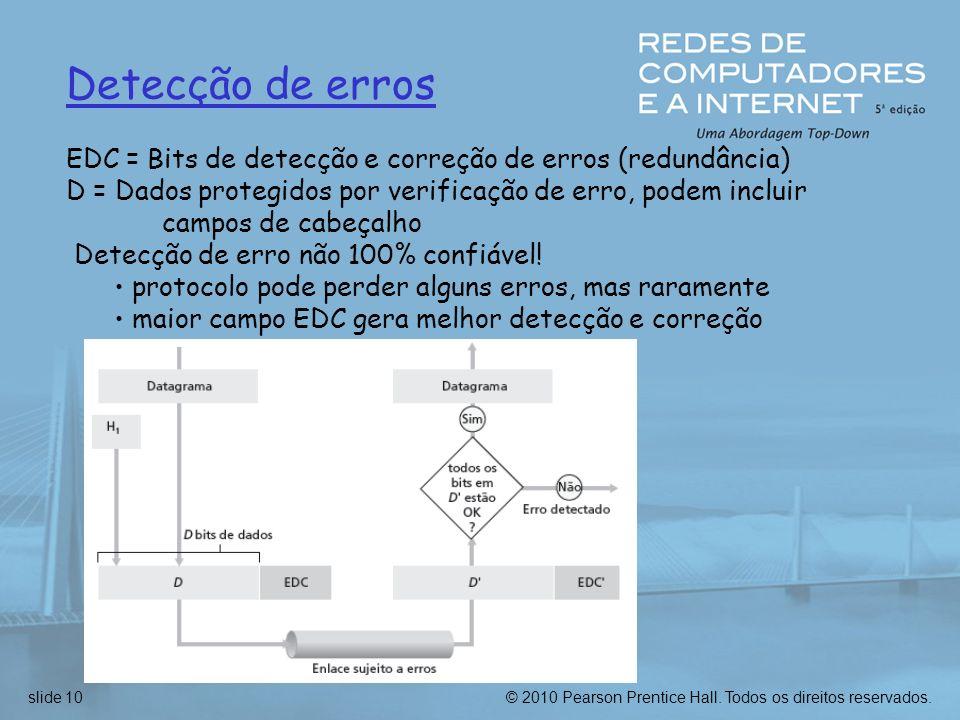 © 2010 Pearson Prentice Hall. Todos os direitos reservados.slide 10 Detecção de erros EDC = Bits de detecção e correção de erros (redundância) D = Dad